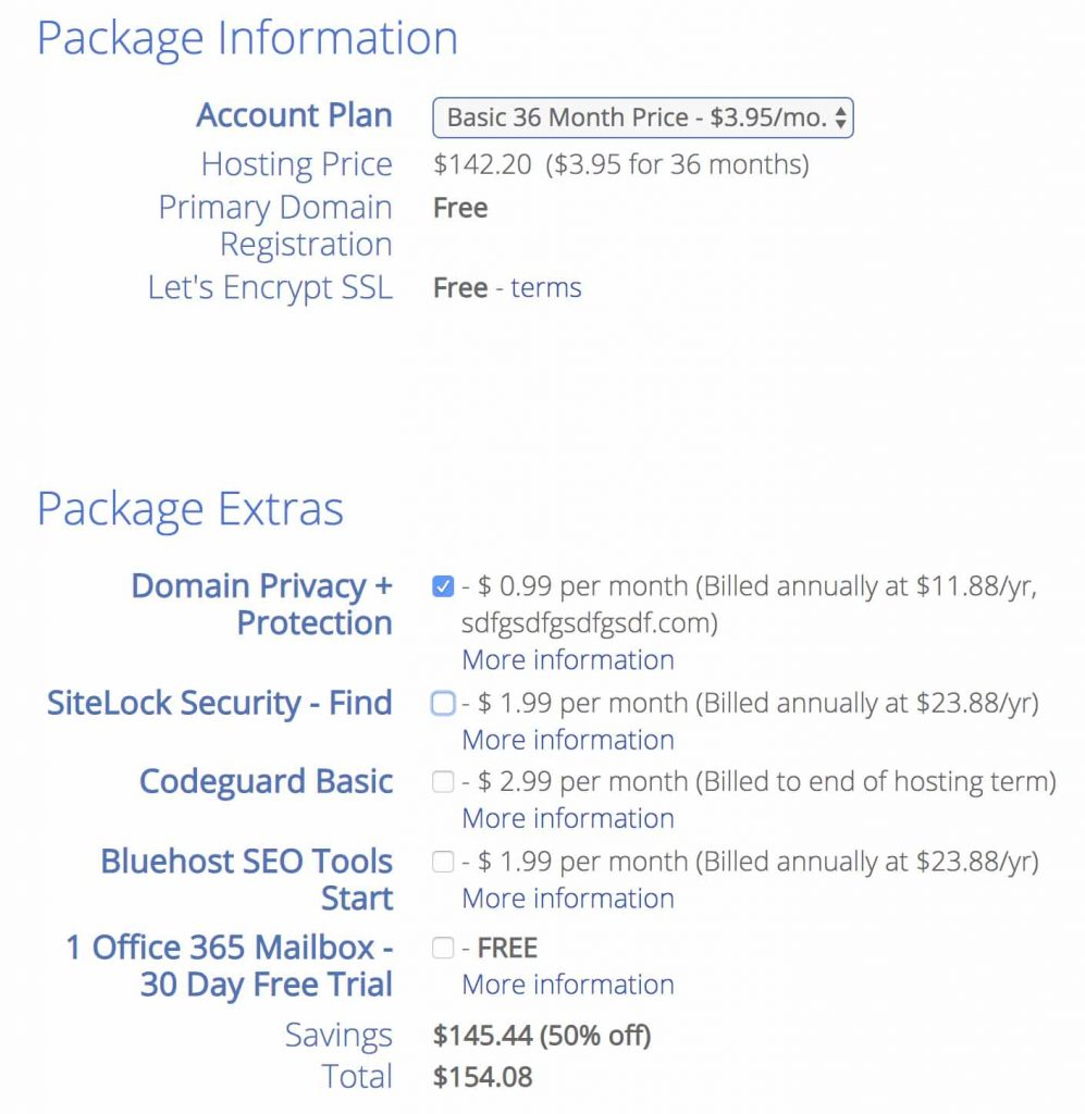 Select Bluehost packages